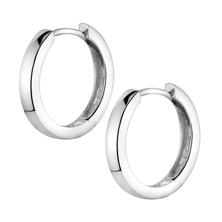 MATERIA Creolen Damen Kinder Ohrringe Silber 925 rhodiniert klein 17mm mit Geschenk-Schachtel SO-358-Silber