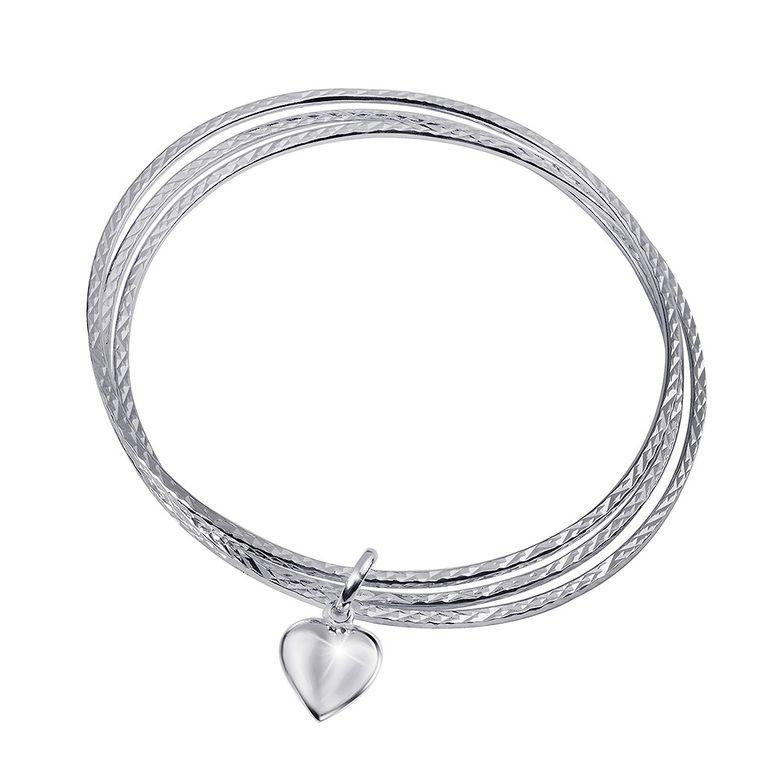 MATERIA Damen Armreif Silber 925 - Herz Armband wahlweise mit Gravur - diamantiert rhodiniert mit Geschenk-Box SA-22