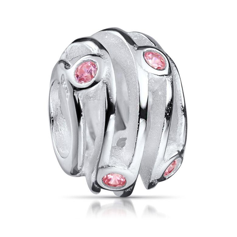 MATERIA Zirkonia Beads Perle Silber 925 - Charms Anhänger Rosa Zirkonia Silberperle für Armband 1203