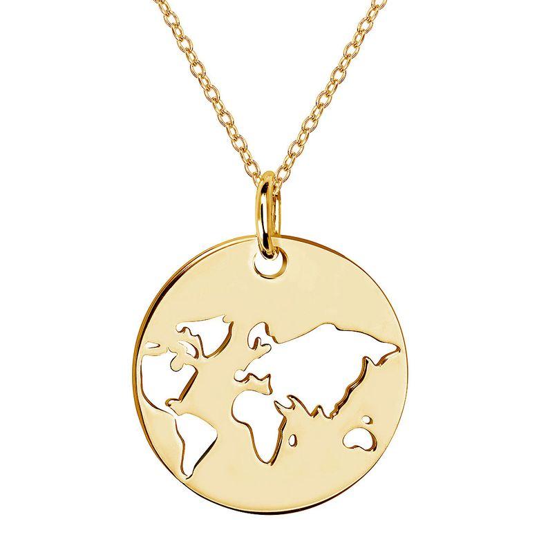 MATERIA Runder Anhänger Globus Welt 925 Silber Gold vergoldet mit Kette 42+5cm für Damen in Etui KA-36