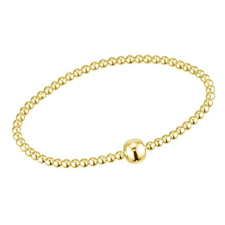 MATERIA Gold Perlen Armband Frauen Mädchen - 925 Silber Stretcharmband vergoldet Kugeln 17-24cm mit Geschenk Etui SA-94