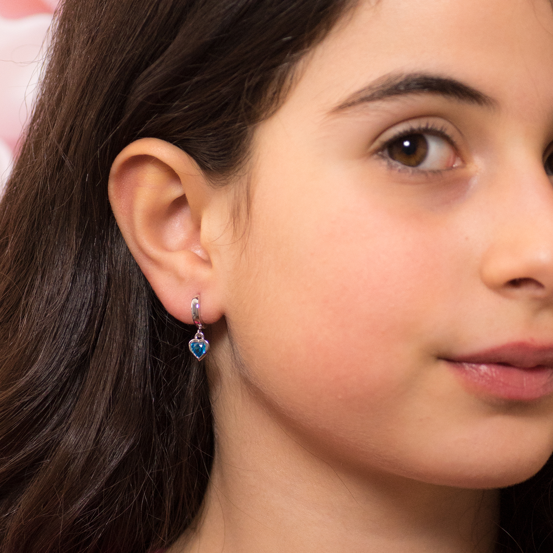 MATERIA Kinder Ohrringe Herz Creolen blau 925 Silber mit Zirkonia