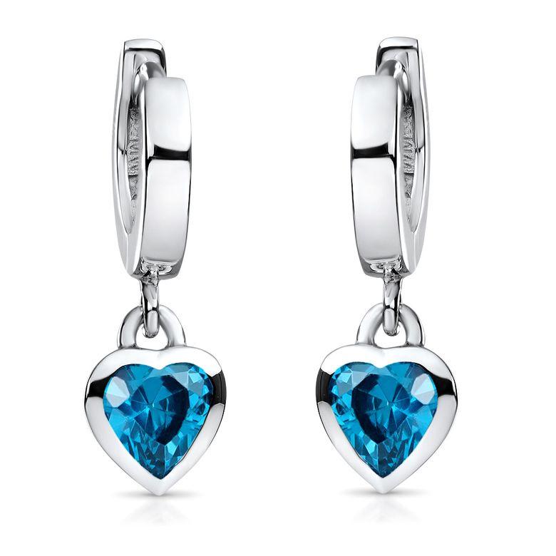 MATERIA Kinder Ohrringe Herz türkis blau 925 Silber rhodiniert - Mädchen Schmuck Creolen mit Zirkonia SO-389-Blau