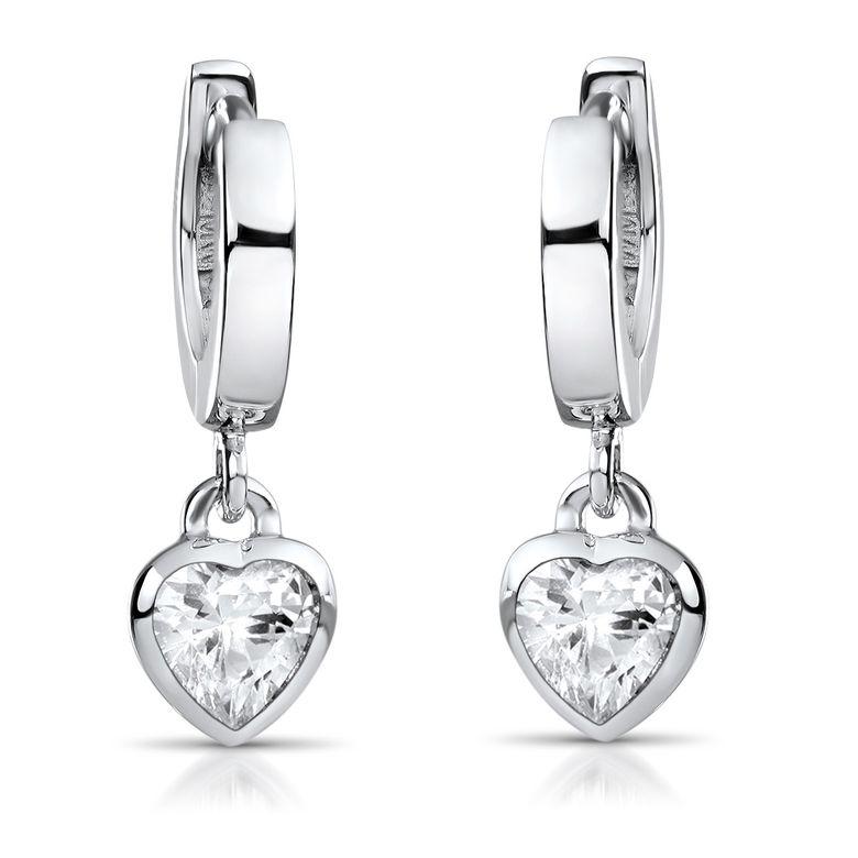 MATERIA Kinder Ohrringe Herz weiß aus 925 Silber rhodiniert - Mädchen Schmuck Creolen mit Zirkonia SO-389-Weiss