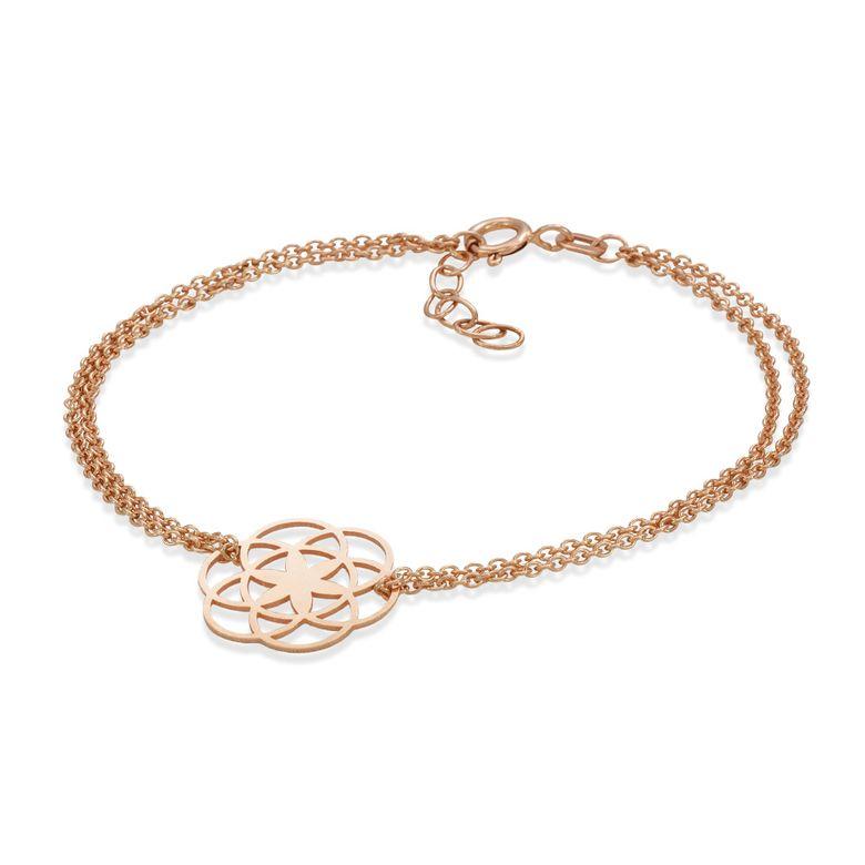MATERIA Damen Armband Rosegold Armkette Blume des Lebens - 925 Silber vergoldet 17-19,5cm verstellbar SA-74-Rose