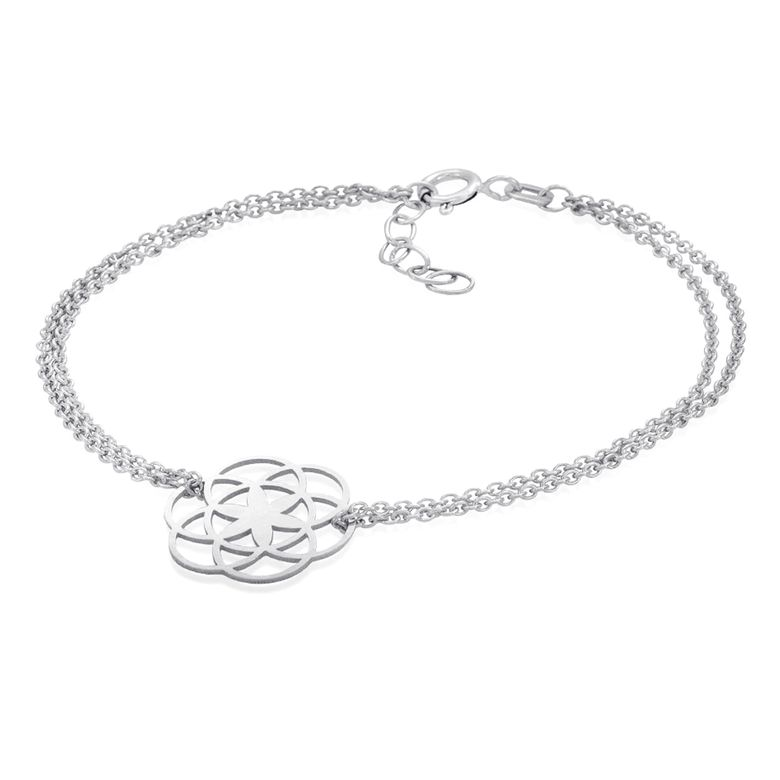 MATERIA Damen Armband Armkette Blume des Lebens - 925 Silber rhodiniert 17-19,5cm verstellbar SA-74-Silber