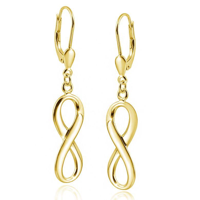 MATERIA Damen Gold Ohrhänger Unendlichkeit Liebe - Brisuren Ohrringe lang 925 Silber vergoldet SO-249-gold
