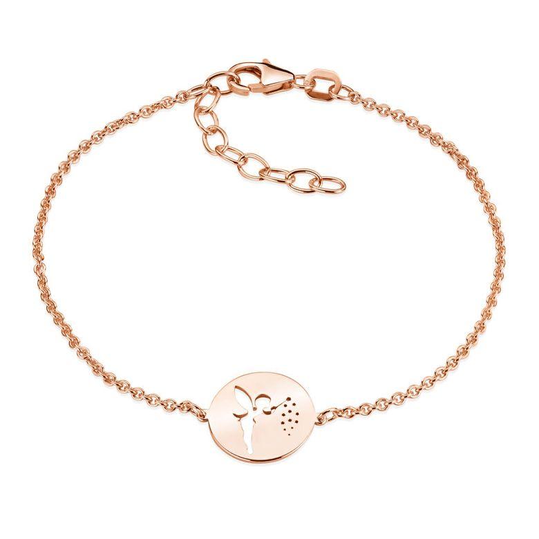 MATERIA Fee Armkette Rosegold Armband Frauen Mädchen - Feen Schmuck aus 925 Silber vergoldet 16-19,5cm SA-98-Rose