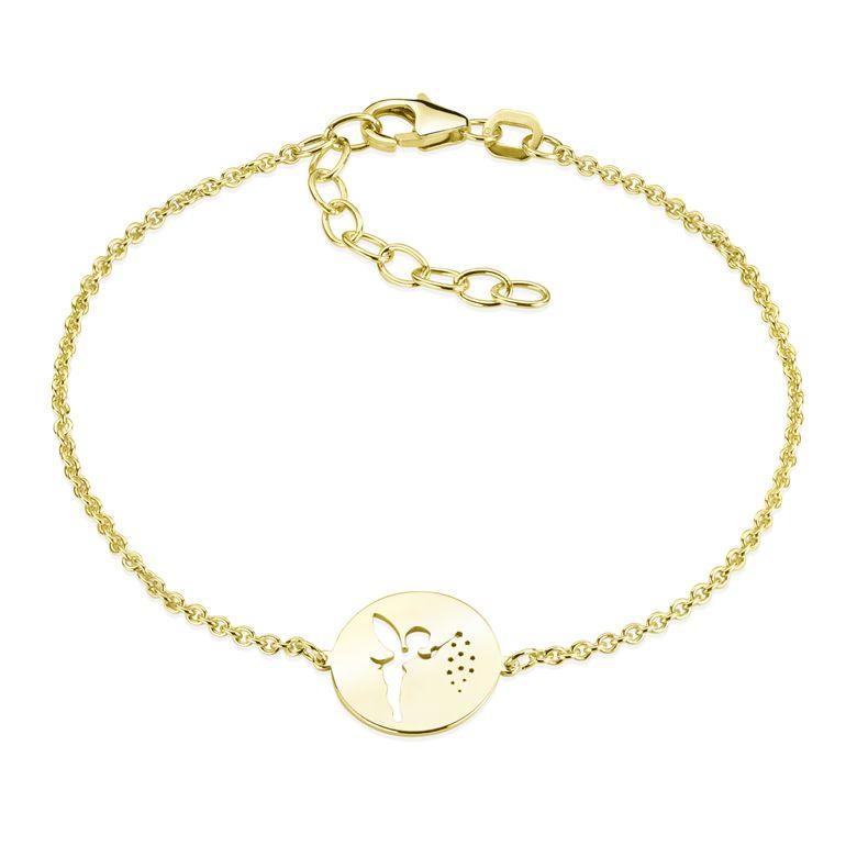 MATERIA Fee Armkette Gold Armband Frauen Mädchen - Feen Schmuck aus 925 Silber vergoldet 16-19,5cm SA-98-Gold