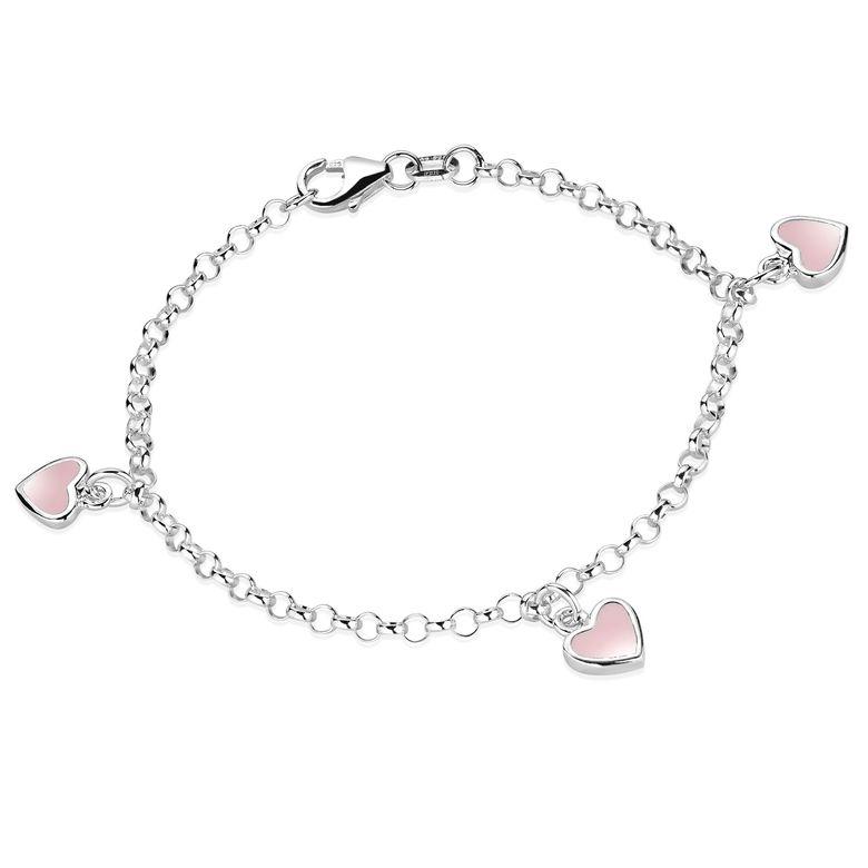 MATERIA Kinderarmband Mädchen Herz rosa - 925 Silber Armkettchen Kinder mit Emaille 16cm in Schmuck Box SA-100