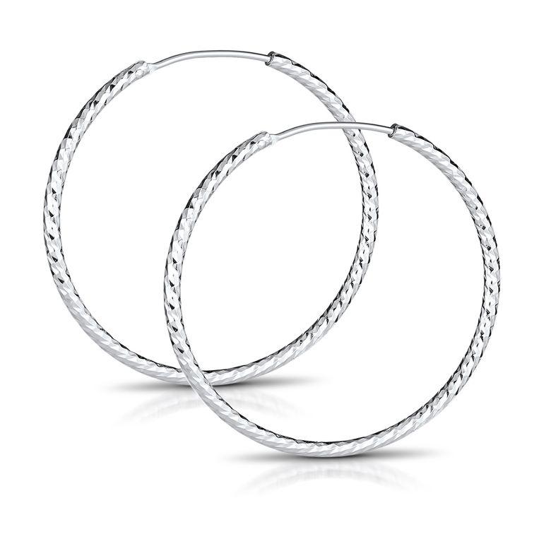 MATERIA Glitzer Klappcreolen Creolen Ohrringe 40mm groß - 925 Silber Schmuck Damen diamantiert rhodiniert SO-140