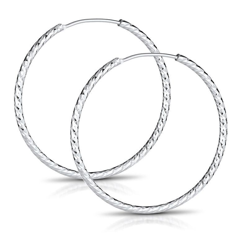 MATERIA Glitzer Klappcreolen Creolen Ohrringe groß 50mm dünn - 925 Silber Schmuck Damen diamantiert rhodiniert SO-55