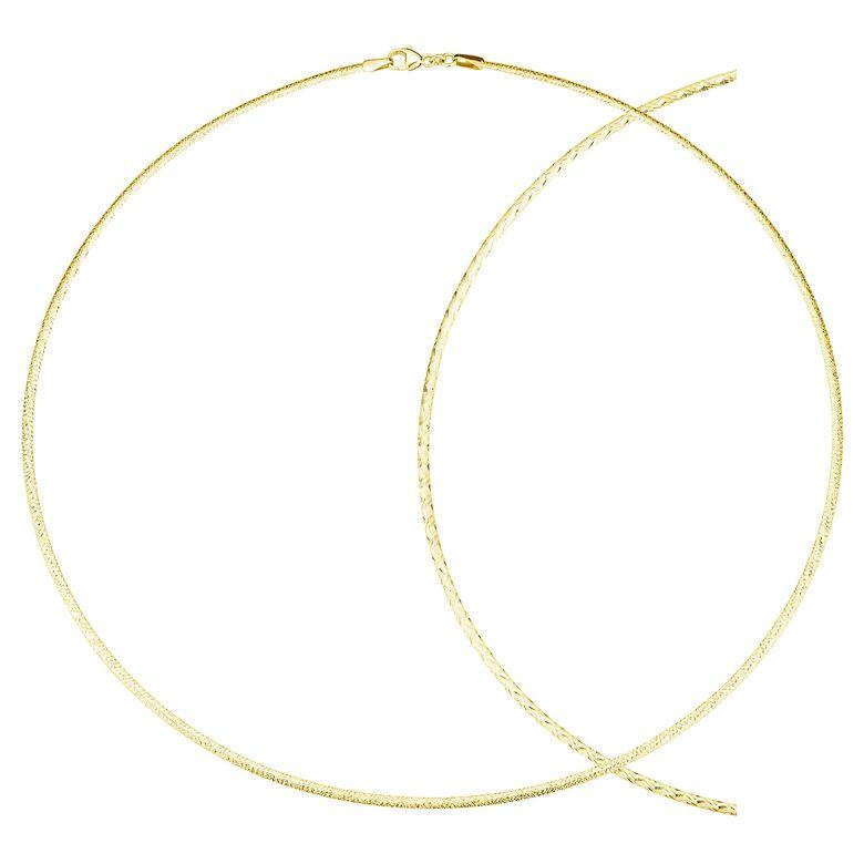 MATERIA Damen Collier Kette Gold 45cm Wende Halsreif - Schmuck Tondakette 925 Silber vergoldet mit Etui CO-24