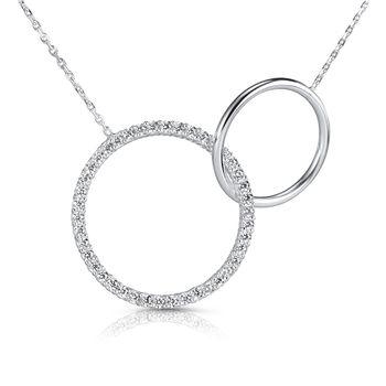 MATERIA Damen Halskette Unendlichkeit - 925 Silber Collier Ringe mit Zirkonia 42 - 45 cm mit Schmuck Schachtel CO-26