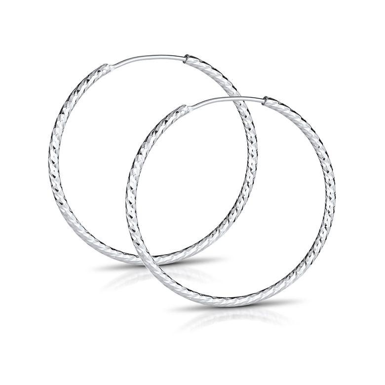 MATERIA Glitzer Klappcreolen Creolen Ohrringe 30mm / 1,7mm - 925 Silber Schmuck Damen diamantiert rhodiniert SO-28