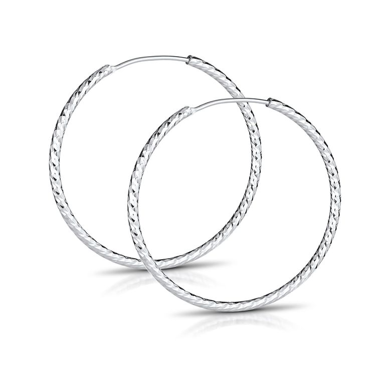 MATERIA Glitzer Klappcreolen Creolen Ohrringe 30mm dünn - 925 Silber Schmuck Damen diamantiert rhodiniert SO-28