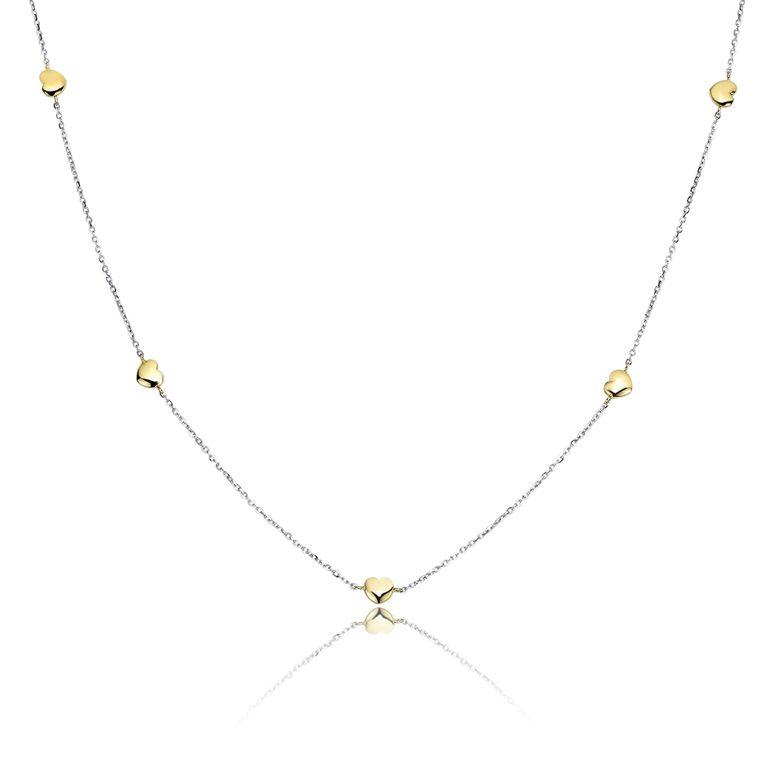 MATERIA 375 Gold Herzkette Damen Mädchen 2,85g - Gelbgold Weißgold Kette mit Herz Anhänger bicolor 38 - 43cm mit Etui GCO-1