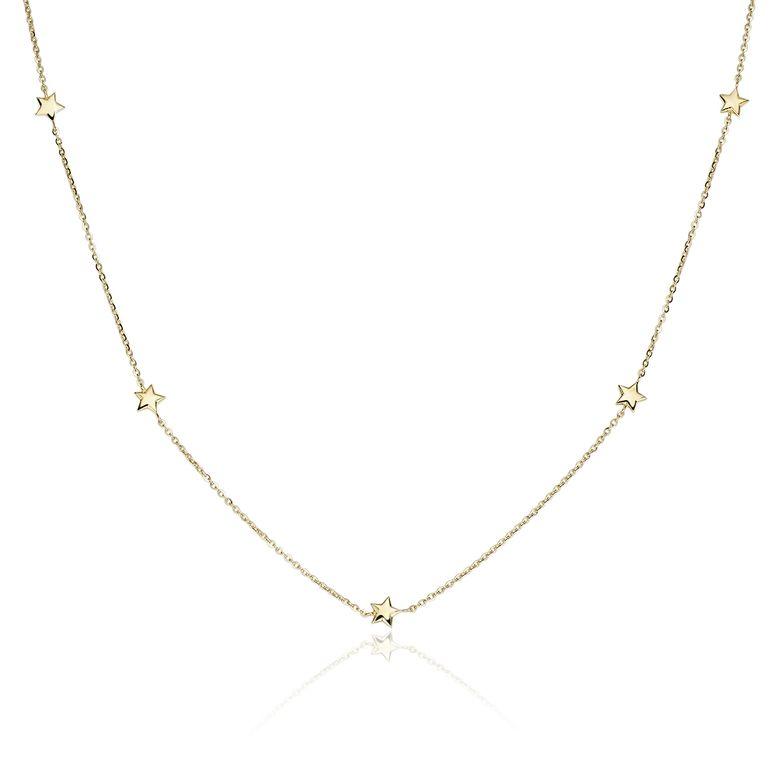 MATERIA Damen Mädchen Halskette Gold 375 mit Sternen - Goldkette 2,4g mit Anhängern 38 - 42cm in Schmuck Etui GCO-2
