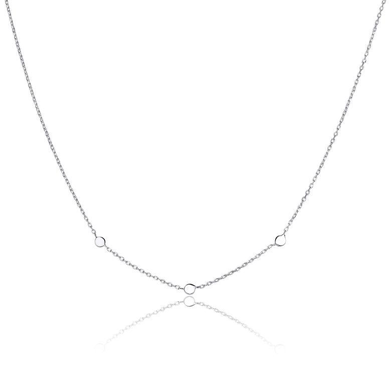 MATERIA Damen Silber-Kette 925 mit runden Plättchen - Halskette für Frauen Teenager 42 - 45cm verstellbar in Etui CO-25