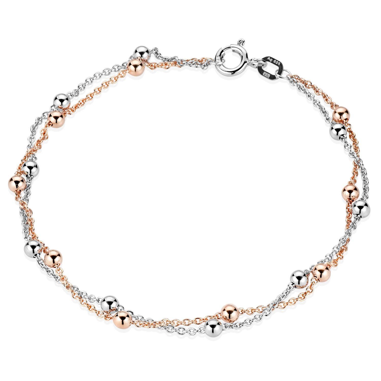 zum halben Preis elegante Form Rabatt MATERIA Damen Armband Kugeln bicolor 925er Silber Rose vergoldet 19cm