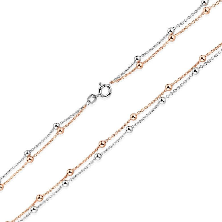 MATERIA Damen Halskette Rosegold mit Kugeln - Kette Silber 925 vergoldet bicolor 45cm mit Schmuckbox CO-33-Rose