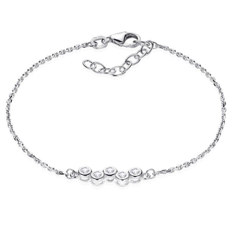MATERIA Zirkonia Armband Damen Mädchen - 925 Sterling SIlber Armkette 16-18,5cm verstellbar SA-111-Silber