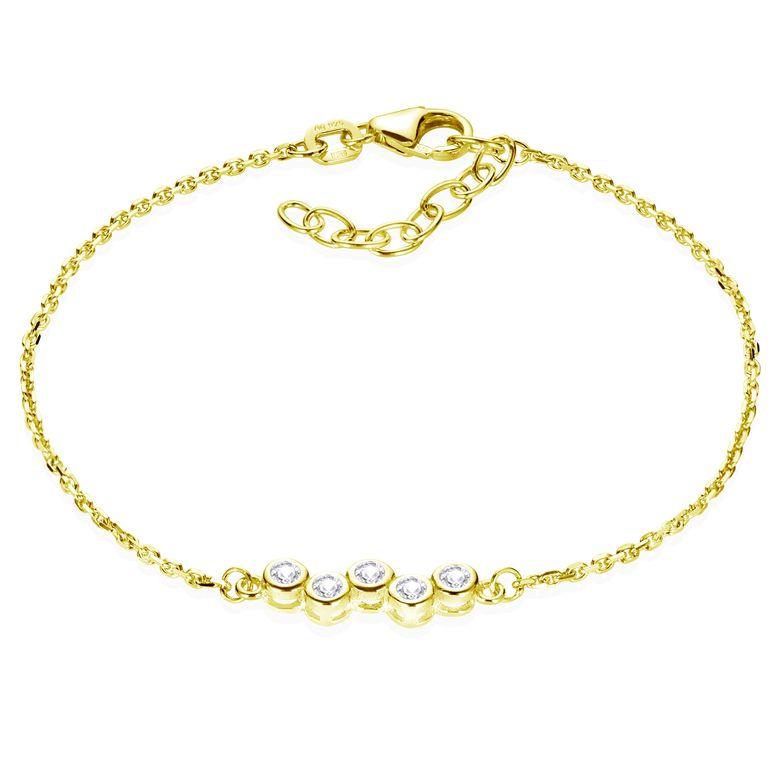 MATERIA Zirkonia Armband Gold Damen Mädchen - 925 Sterling SIlber Armkette 16-18,5cm verstellbar SA-111-Silber