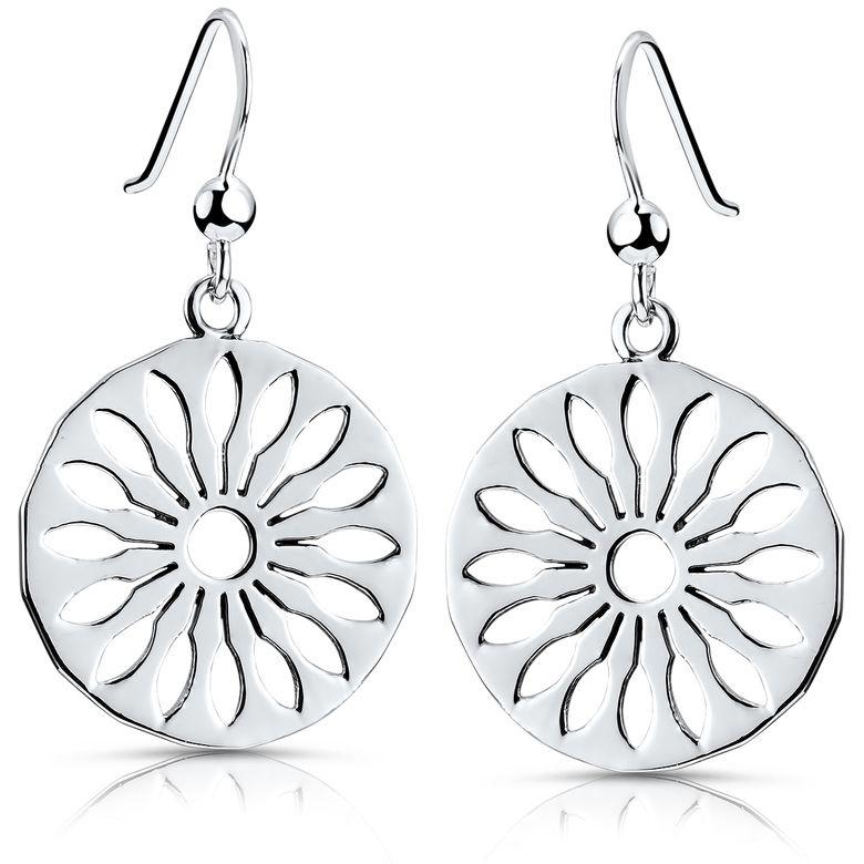 Materia Blumen Ohrringe Silber hängend - 925 Sterling-Silber Ohrhänger rund für Damen Teeanger in Geschenkbox SO-398