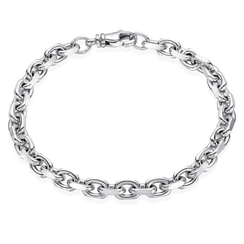 MATERIA Herren Armband Silber 925 6mm breit - Herrenarmband Ankerkette diamantiert rhodiniert in Etui 19 20 21 22 24 cm