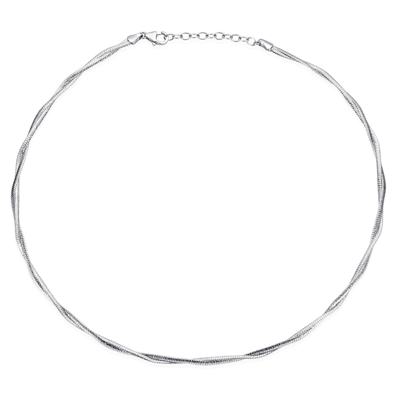 MATERIA Damen Collier Kette 925er Silber rhodiniert 42-46cm