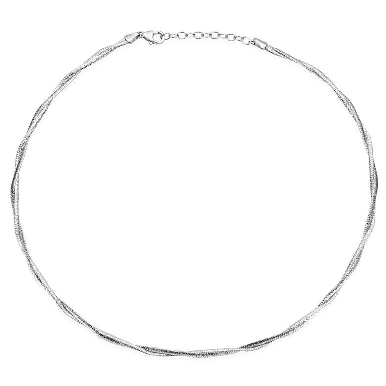 MATERIA Halskette Frauen Halsreif Silber 925 - Damen Collier Tonda Kette 2-Strang 42-46cm rhodiniert in Collieretui CO-28