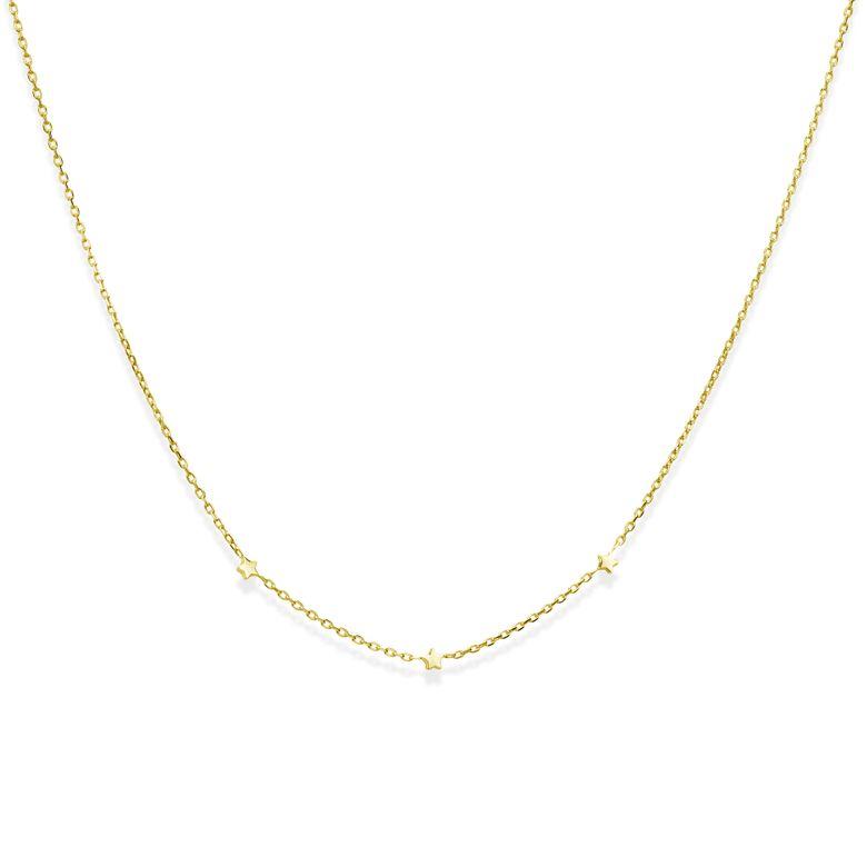MATERIA Gold Kette mit Sternen Silber 925 - goldene Sternenkette 42cm + 3cm Verlängerungskett CO-30