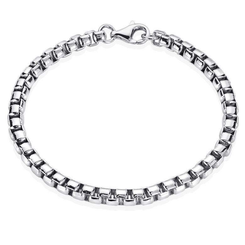MATERIA Venezianerkette Silber 925 Herren Armband 5mm Armbandkette massiv rhodiniert in 19 20 21 22 23cm SA-92