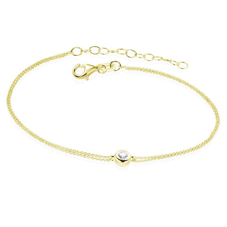 MATERIA Gold Armkettchen Damen Mädchen Schmuck - Armband 925 Silber vergoldet mit Zirkonia 16-19,5cm SA-70-Gold