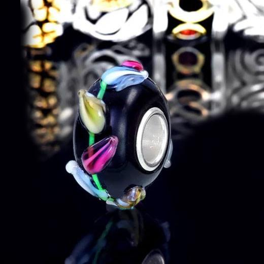 Materia Murano Glas Beads Blumen 3D Element schwarz bunt