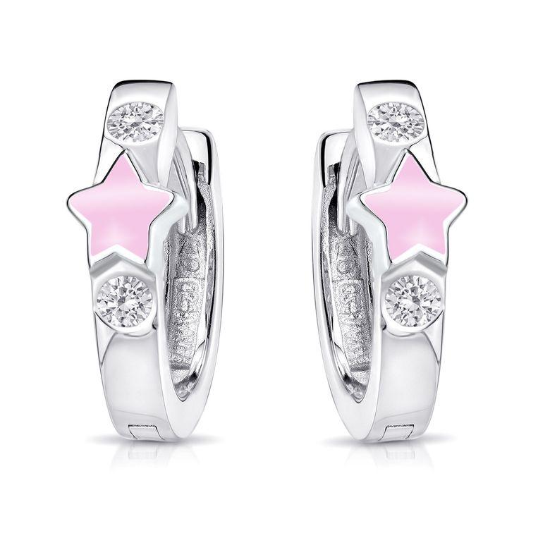 MATERIA Kinder Ohrringe Mädchen Silber 925 rosa  - Stern Schmuck Creolen mit Zirkonia in Geschenk-Box SO-401-Rosa
