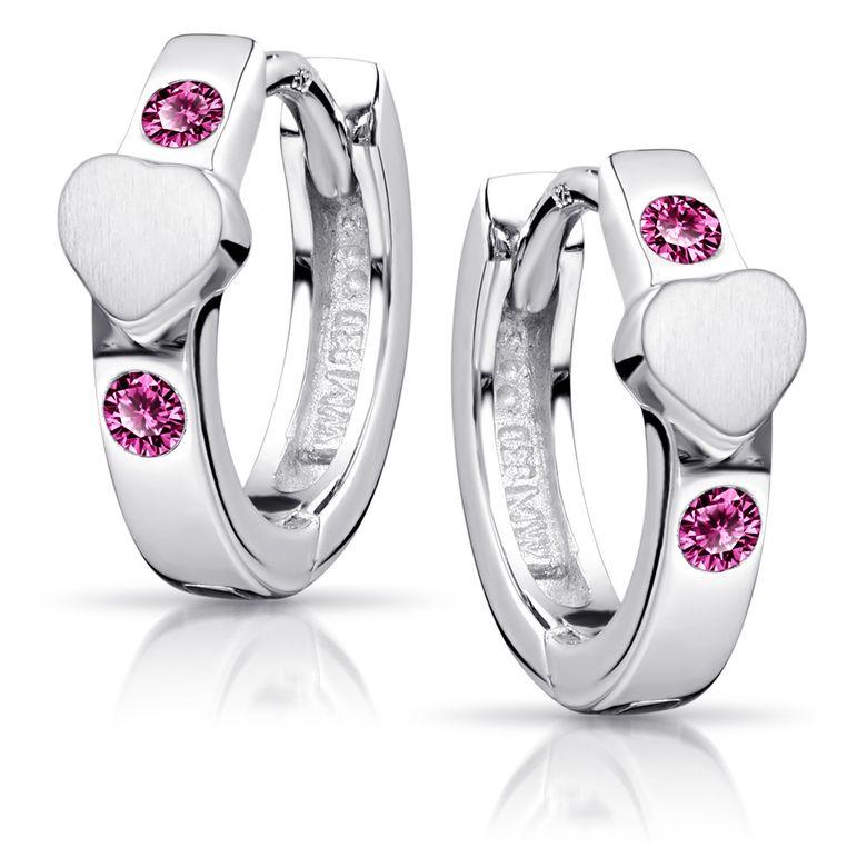 MATERIA Mädchen Creolen Silber 925 - Kinderohrringe Herz Ohrringe Zirkonia pink mit Geschenk-Box SO-391-Pink