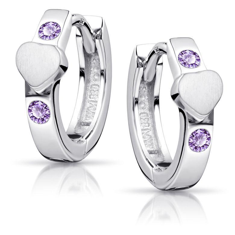 MATERIA Kinder Ohrringe Creolen Silber 925 - Klappcreolen Silbercreolen Herz Zirkonia lila in Box SO-391-Violett