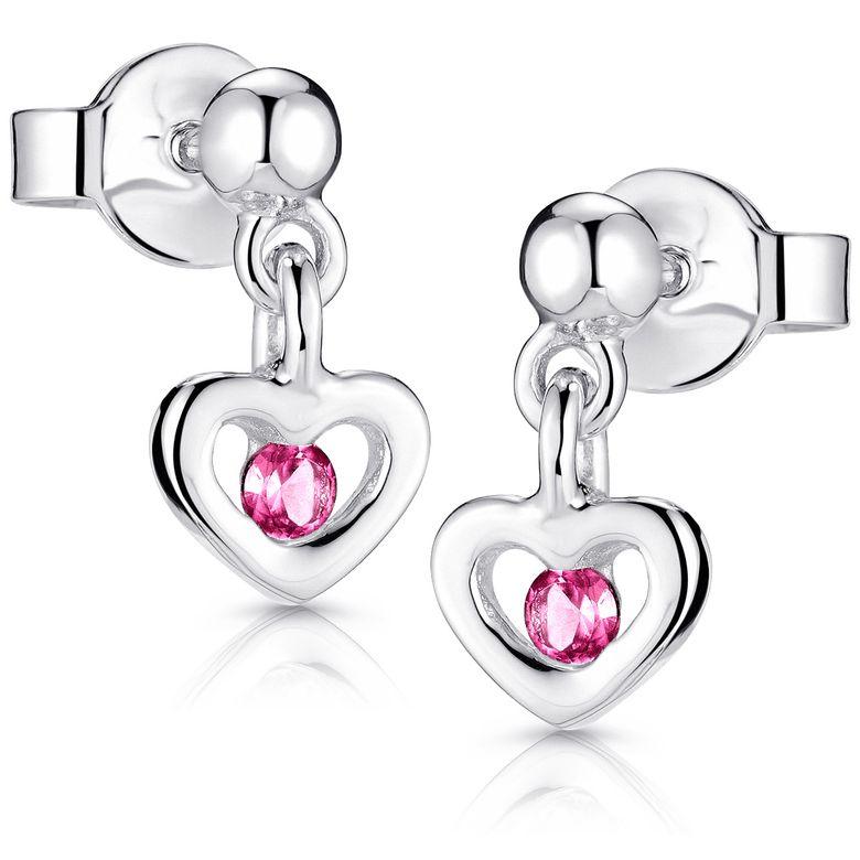 MATERIA Kinder Ohrstecker Herz pink - Mädchen Ohrringe Echt Silber 925 mit Glitzer Zirkonia SO-402-Pink