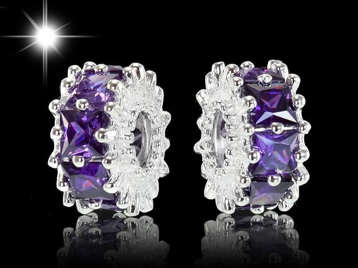 925 Sterling Silber Bead Element 11 Zirkonia Lila für Beads Armband & Kette - Modell: #991