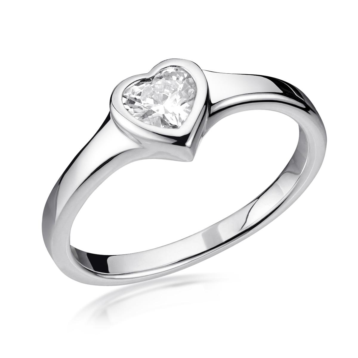 MATERIA Damen Ring Herz Zirkonia weiß aus 925 Sterling Silber