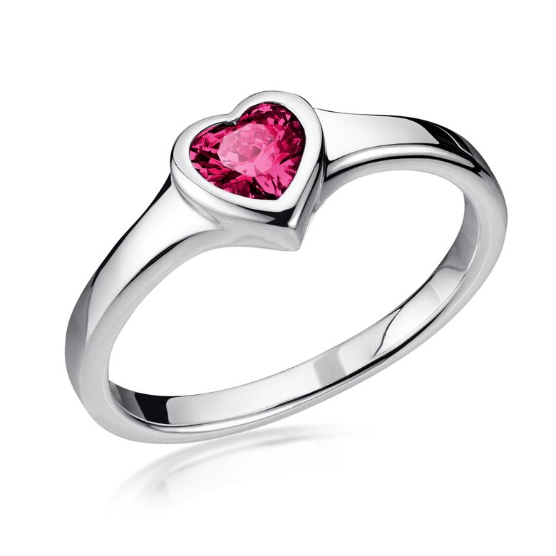 MATERIA Roter Herz Ring Silber 925 Damen - Verlobungssring Silberring rhodiniert mit Zirkonia in Ringbox 16 17 18 19 20mm