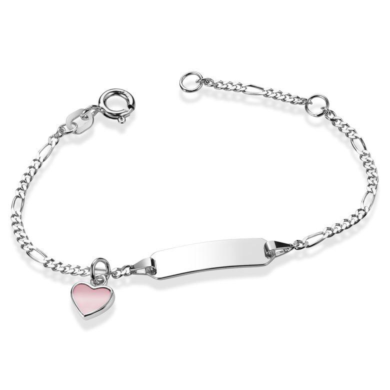 MATERIA Baby Kinder Armband mit Gravur und Herz Anhänger rosa aus 925 Silber 12-14cm verstellbar SA-113