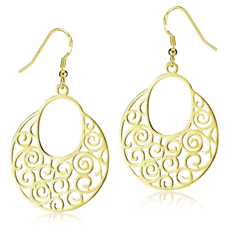 MATERIA Große Ohrhänger Gold Damen aus 925 Silber vergoldet rund