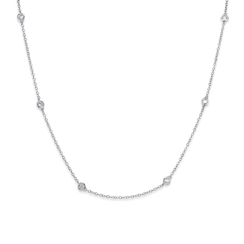 MATERIA Damen Collier Silber 925 mit Zirkonia - Frauen Kette 42cm mit Verlängerungskette in Schmuck Box CO-29-Silber