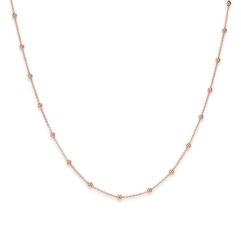 MATERIA Kugel Kette Damen Rosegold - 925 Silber Halskette für Frauen Mädchen rose vergoldet 40 45 50 55 60 70cm K105