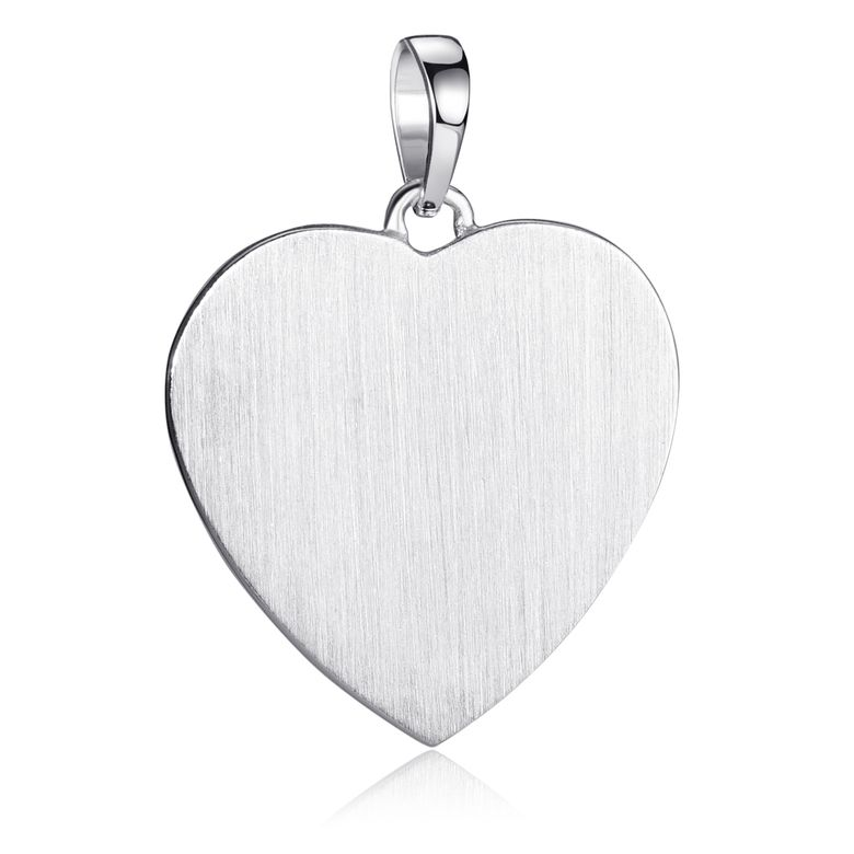 MATERIA Großer Herz Anhänger mit Gravur - 925 Sterling Silber rhodiniert Gravurplatte 21,9x22,5mm matt KA-458