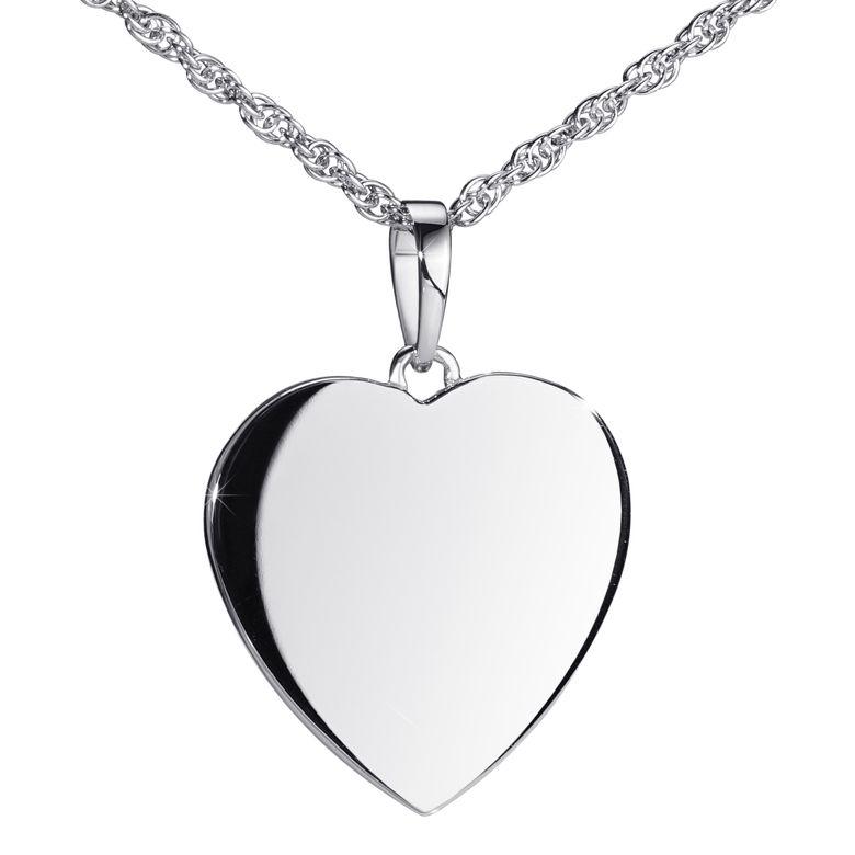 MATERIA Gravur Anhänger Herz mit Kette - 925 Sterling Silber Herzkette Damen hochglanz rhodiniert 6,4g in Geschenk Box