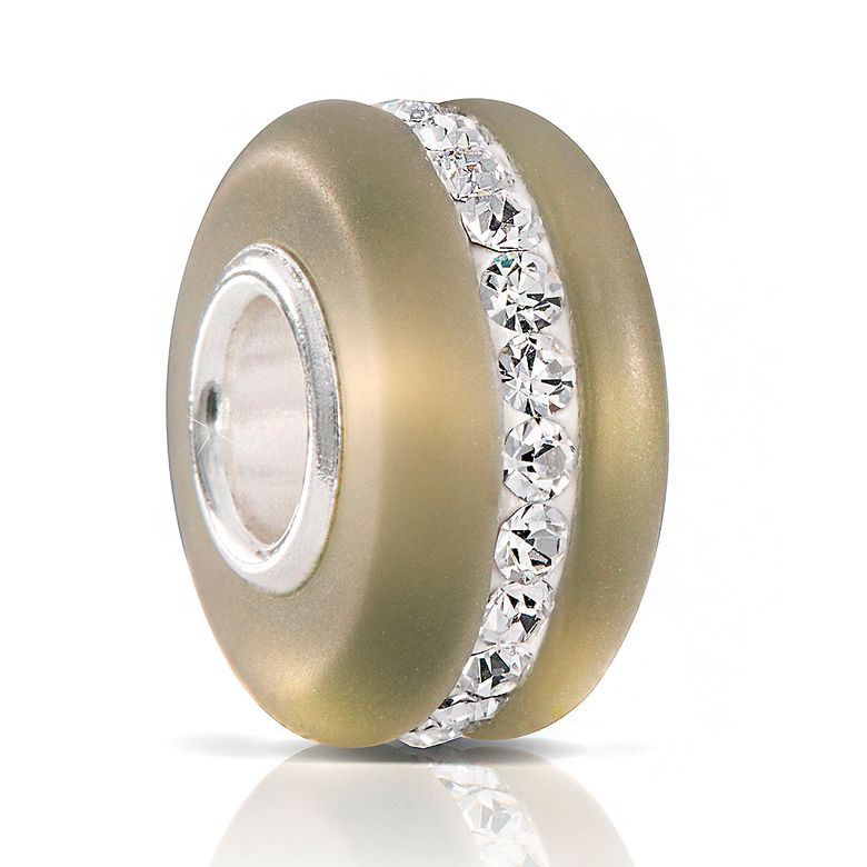 MATERIA Murano Glas Beads Perle olivgrün mit Kristallen und 925 Silber Hülse mattiert für Damen Armband 605