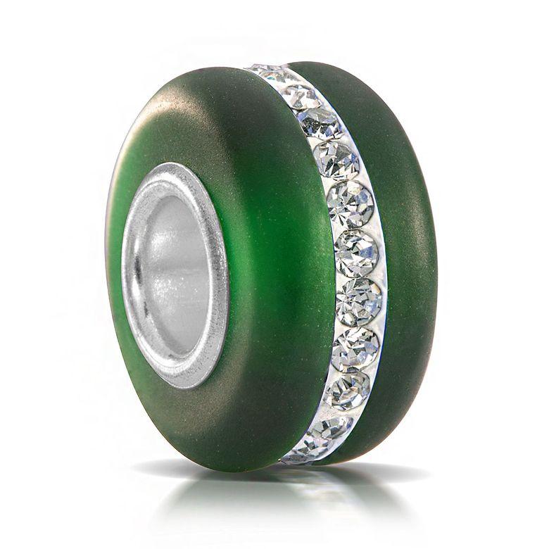 MATERIA Murano Glas Beads Perle grün mit Kristallen und 925 Silber Hülse mattiert für Armband Kette 609